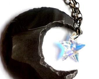 Crescent Moon and Swarovski crystal star pendant  Swarovski star  Swarovski  Moon pendant  jasper moon jasper stone  summer jewelry  boho