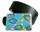 Large Metal Belt Buckle Turquoise, Cobalt and Lime Hand Painted Mod Inspired for Snap Belts with a Glossy Enamel Finish Customizable