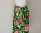 Vintage 1980s Rayon Floral Skirt Medium