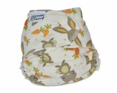 Fitted Cloth Diaper, OS, Flannel - Bunny, Rabbit, Carrots