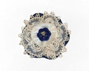 Lapel Pin, fabric flower pin, scarf pin, hat pin, blue denim lace flower brooch, fiber art corsage, OOAK