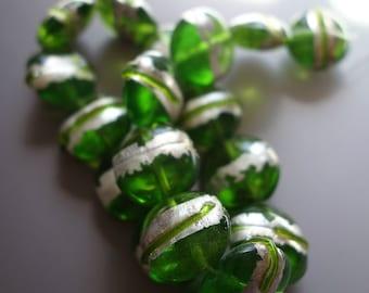 Green Silver Foil Lentil Beads 4 pcs