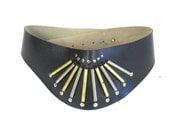SALE 70s 80s Studded Belt Hippie Boho Wide Waist Belt Black Faux Leather Belt Superhero Bohemian Hippie Belt Silver Brass Metal E940