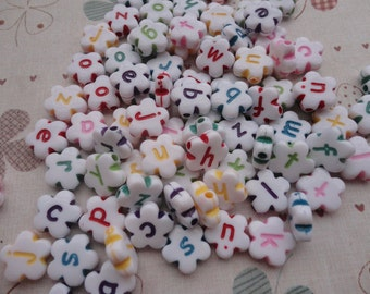 Wholesale 100pcs 11mmx11mm Neon Flower Acrylic character Beads with 1.5mm Hole