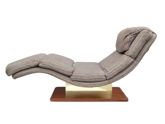 Wave chaise lounge chair brass walnut by carson 39 s high for Carson chaise lounge