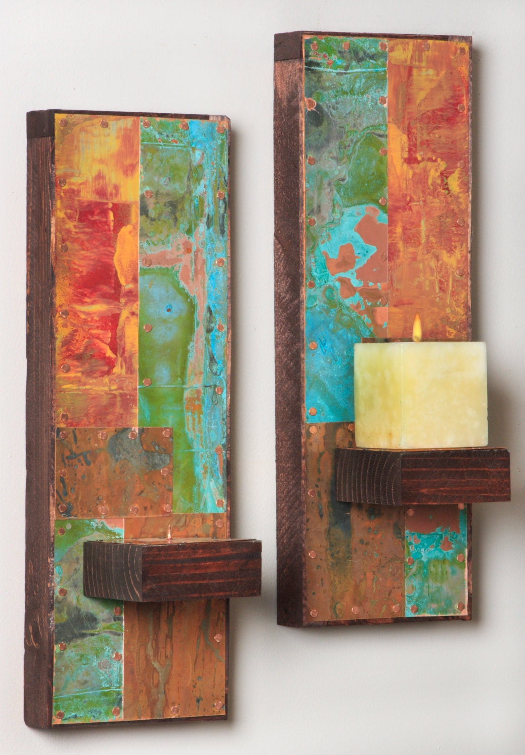 Handmade Copper Wall Sconces : Two Metal and Copper Wall Sconces by paulrungstudio on Etsy