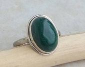 Malachite Power Stone Ring sterling silver size 7. 5 - 8