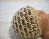 Preemie to newborn handknit hat-buff and painted desert