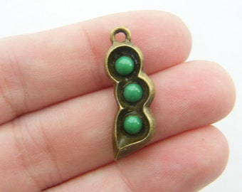 4 Pea pod charms antique bronze tone BC129