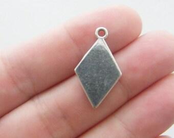 6 Diamond card suit charms antique silver tone P271