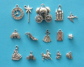 The Ultimate Cinderella Charm Collection - 15 antique silver tone charms