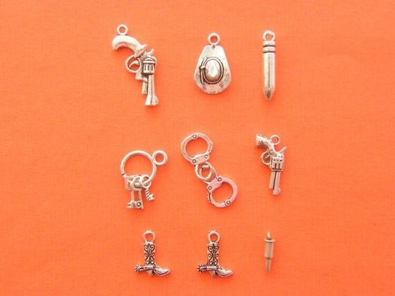 The Cops and Robbers Collection - 8 antique silver tone charms