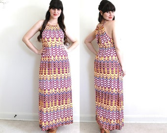 1970s Dress / 70s Halter Dress / 1970s Psychedelic Maxi Dress