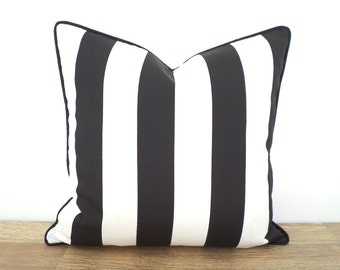 Black stripe outdoor pillow cover 18x18, outdoor chair cushion case black and white decor, striped cushion outside bench, porch swing pillow