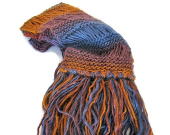 Autumn Colors Scarf, Knit Scarf, Gift For her, Hand Knit Scarf, Fashion Scarf,   Winter Scarf, Multi-color Scarf. Fiber Art