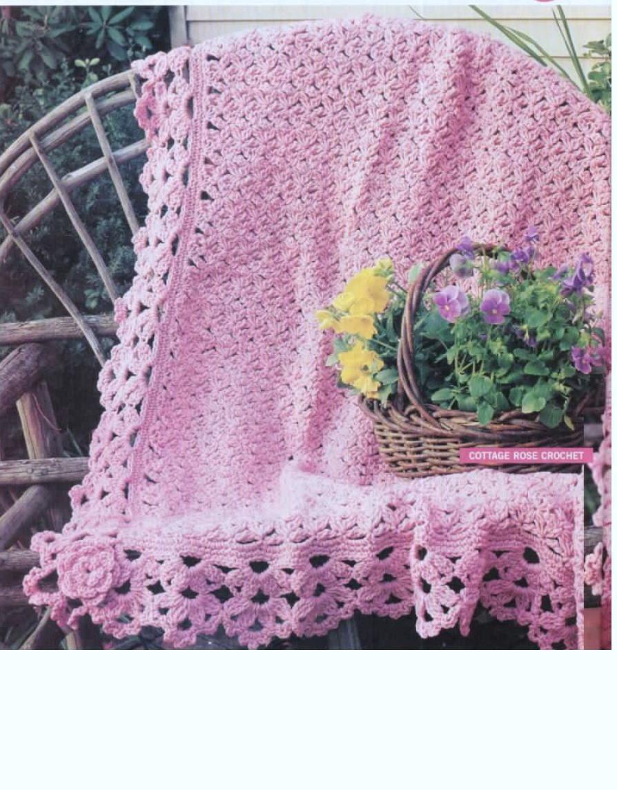 Afghan Crochet Pattern Roses Afghan Blanket Shawl Baby