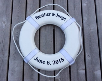 "Nautical Wedding Guest Book Photo Prop Personalized 24"" Ring Buoy"