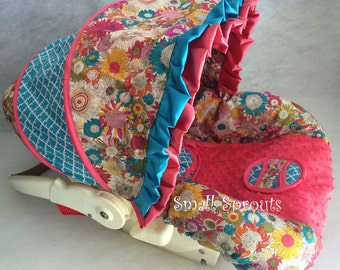 Coral and Turquouise Sunflower/Turquoise Quatrefoil/Coral Minky Dot infant baby 5 piece car seat cover set