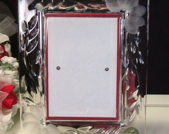 vintage princess house crystal heritage glass picture frame original label 3 x 5 frame 1970s mid century elegant glass dinnerware decor