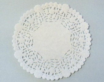 """5"""" white paper doily, 50 doilies, lace embellishment, card making, scrapbooking, wedding decor, party supplies, wrapping packaging gift wrap"""