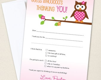 Owl Thank You Cards - Professionally printed - Printable file also available
