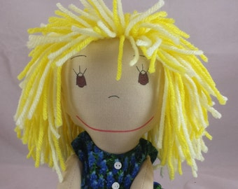 READY TO SHIP Rag Doll, light skin tone,mop of light and dark yellow hair,Removable Clothes,Rag Doll,Fabric Doll, Stuffed Doll,Plush Doll