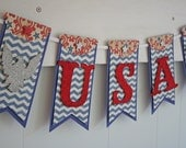 USA Banner - Patriotic Decor - Fourth of July Decor - Red white and blue Decor