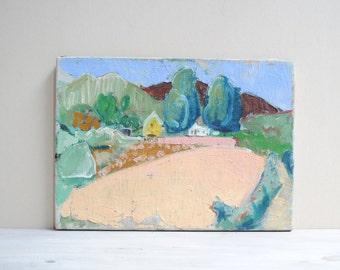 Vintage Original Landscape Painting / Rural Farm Scene