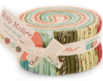"VERY MERRY Jelly Roll by Sandy Gervais for Moda Fabrics 17830JR 40 2.5"" x 42"" Fabric Strips"