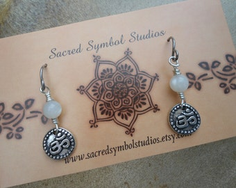 Yoga Jewelry Moonstone OM Earrings Aum Earrings Gift for Yogi Spiritual Jewelry  Doula Gift Midwife Gift  Symbolic Jewelry Hindu Buddhist OM