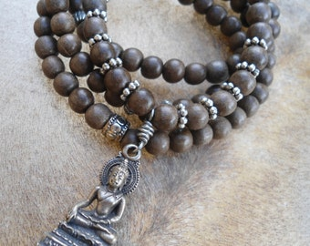 Simple Mens Yoga Necklace  108 Bead Mala  Grey Wood  Thai Buddha  Mala  Yoga Inspired Buddha Necklace Yoga Jewelry Meditation  Prayer Beads