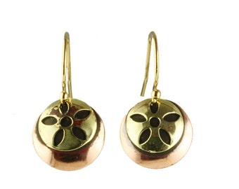 Earring with copper and brass, copper dangle earrings, cupper earrings