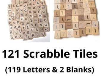 121 Wooden Scrabble Tiles 119 Letters 2 Blanks supplies for Jewelry Making