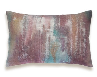 Burgundy Marsala Red Teal Blue Rust Orange Beige Decorative Lumbar Pillow Cover 12x18 inch Natural Linen One Of A Kind