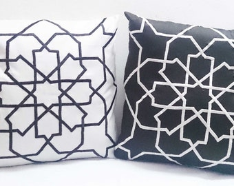 reverse cushion in brown and offwhite poly dupioni silk morrocan tile decorative embroidered throw pillow cover-16x16inches