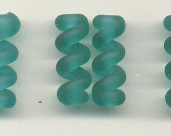 Tom's lampwork satin (etched) frosted teal twist cylinder beads, drops, spacers 20mm, 2 beads, 1 pair, 97749-2