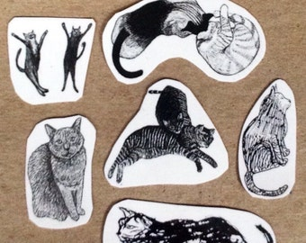 Cat Temporary Tattoos - Set of 6 Tattoos
