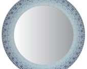 Round Mirror - Gray, Light Gray & White Mosaic