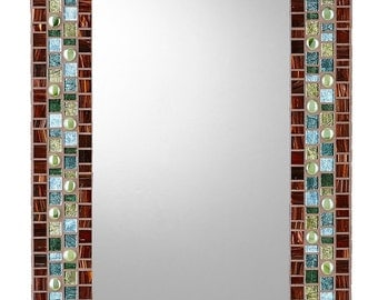 Mosaic Wall Mirror - Brown, Green, & Teal