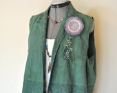 Green Medium Denim VEST - Dark Green Dyed Upcycled Bill Blass Denim Vest - Adult Womens Medium (42 chest)