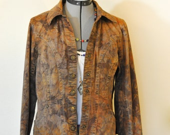 Brown Medium Cotton JACKET - Cocoa Brown Dyed Upcycled Christopher & Banks Blazer Jacket - Adult Womens Size Medium (40 chest)