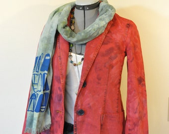 """Red Petite Small Denim JACKET - Scarlet Red Hand Dyed Upcycled Ralph Lauren Cotton Denim Blazer Jacket - Adult Womens Small (36"""" chest)"""