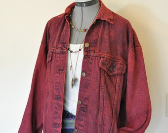 "Red Large Denim JACKET - Dark Red Hand Dyed Upcycled Levi's Cotton 80s Trucker Jacket - Adult Womens Size Large (44"" chest)"