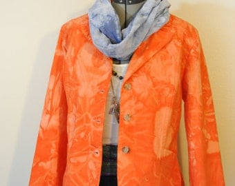 Orange Large Denim Jacket - Orange Hand Dyed Upcycled St. Johns Bay Cotton Denim Blazer Jacket - Adult Women Size Large (44 chest)