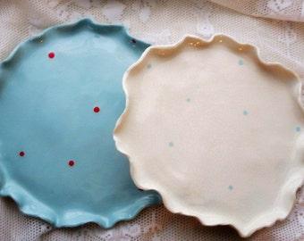 Ruffled Plates (Set 2), Dots, Polka Dots, Organic, Dinner Plates, Plates, Wedding Gift, Dishes, Polka Dot Dishes, Personalized, pottery