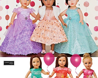 18 inch Doll Clothes Pattern, 18 inch Doll's Party Dresses Pattern, Simplicity Sewing Pattern 1135