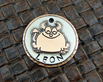 Smiling Devil Dog,Custom Dog ID Tag Pet ID Tag-Handmade Dog ID Collar Tag