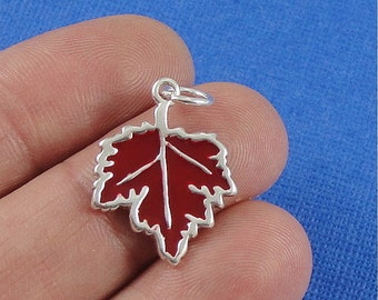 Red Maple Leaf Charm - Sterling Silver Maple Leaf Charm for Necklace or Bracelet