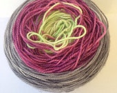 Gradient Hand Dyed Yarn - Merino / Nylon / Stellina Sparkle - Fingering Weight / Sock Weight Color Change - kelly green, plum, gray