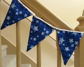 """Double Sided Fabric Bunting, Party Banner, Pennant Flag Garland, Blue Star Pattern, Choice of Length 5 to 9 ft """"Cosmic Blue"""""""